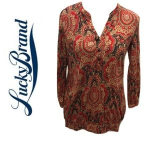Lucky Brand Size S Peasant Top Paisley Red Casual
